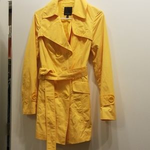 Yellow belted rain jacket by The Limited